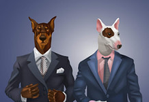 vector illustration of doberman and bullterrier dressed up in office suit