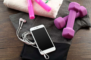 gym set with my durable earbuds