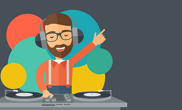 Disc jockey mixing music headphones