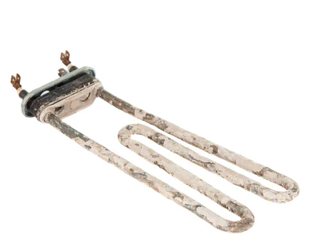 Heating elements of water heater with scum and sediment