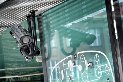 a display of the best security camera systems for small business in my office