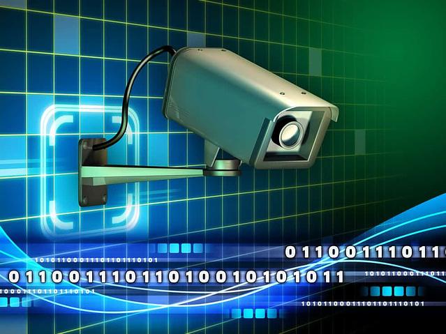 Security camera checking a data stream. Digital illustration