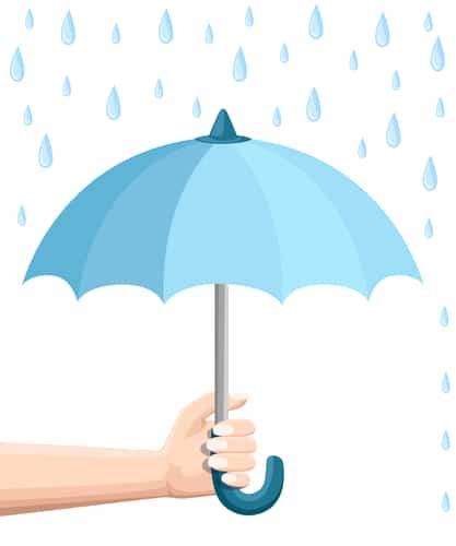 Hand holding blue umbrella. Umbrella protection from rain. Flat style design. Vector illustration isolated on white background