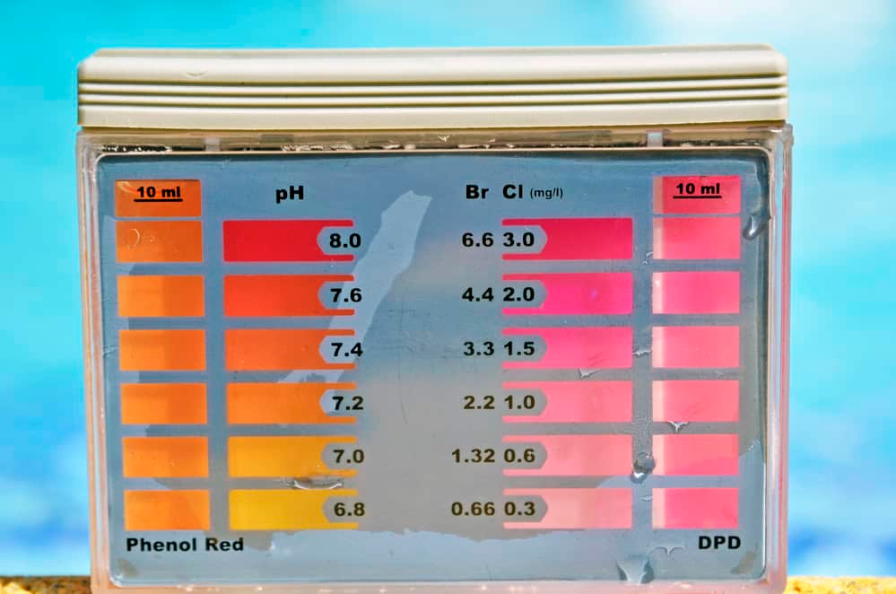 Clean water in the pool. Ph and chlorine analyzer